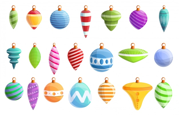 Christmas tree toys icons set, cartoon style