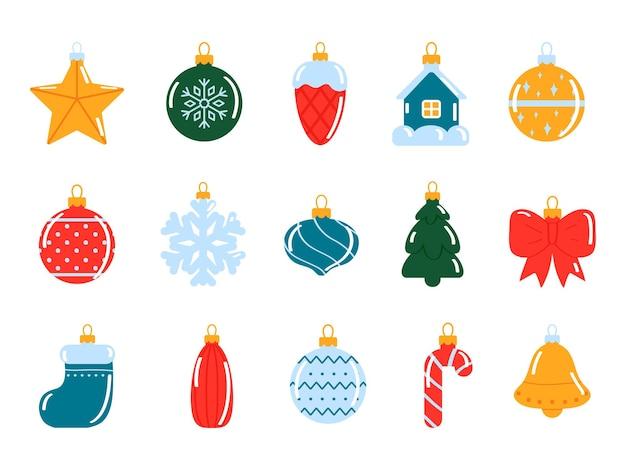 평면 스타일에 흰색 배경에 크리스마스 장식 벡터 일러스트 레이 션에 고립 된 크리스마스 트리 장난감