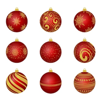 Christmas tree toys. red christmas balls on the tree. merry christmas and a happy new year. decoration. decor.