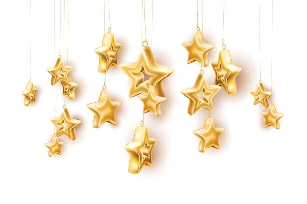 クリスマスツリーのおもちゃの星現実的な光沢のある金色の星がぶら下がっています Premiumベクター
