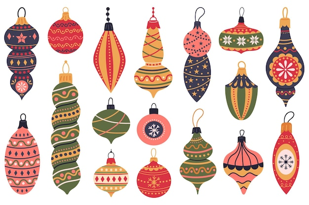 Елочные игрушки рождественские праздники украшения старинные звезды шары рождественские зимние игрушки векторный набор