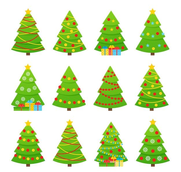 クリスマスツリー。 。フラットなデザインのツリーアイコン。クリスマス漫画背景。陽気なトウヒのもみを設定します。冬のイラストが白で隔離。コンピュータの問題。ガーランド、スター、ボールのコレクション松。