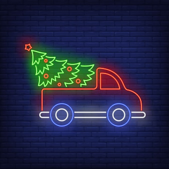 Christmas tree in truck in neon style
