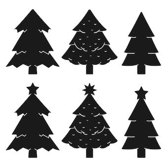 크리스마스 트리 벡터 검은 실루엣에 고립 된 흰색 배경을 설정합니다.