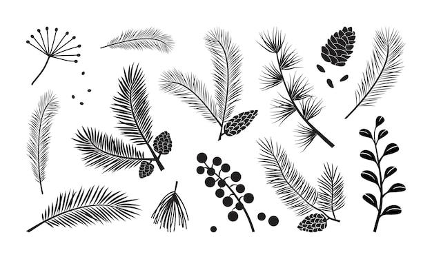 크리스마스 트리 벡터 분기 전나무와 소나무 콘 상록수 세트 휴일 장식 프리미엄 벡터