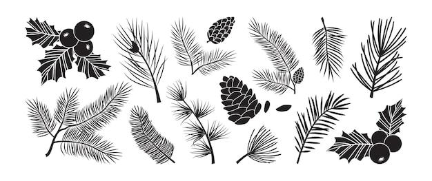 크리스마스 트리 벡터 가지, 전나무와 소나무 콘, 상록수 세트, 홀리 베리 아이콘, 휴일 장식, 검은 겨울 기호. 자연 그림
