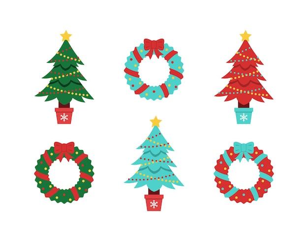 크리스마스 트리 벡터 컬렉션 장식된 가문비나무와 겨울 휴가 화환