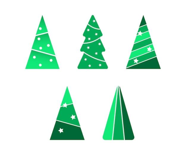 Вектор рождественской елки установлен в различное украшение, гирлянду и шар. коллекция плоский значок, рождественская елка на белом фоне для рождественских и новогодних открыток, плакатов, веб-сайтов.