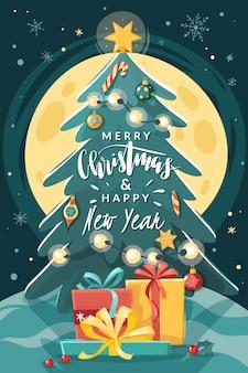 크리스마스 트리 수직 포스터입니다. 만화 플랫 스타일