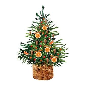 Рождественская елка акварельные иллюстрации