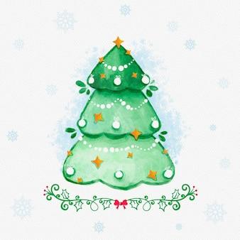 Рождественская елка в акварельном стиле