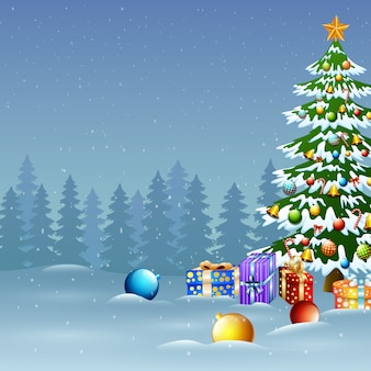 Christmas tree in winter background with gift boxes and balls