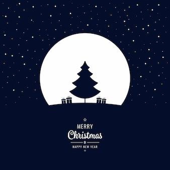 크리스마스 트리 겨울 밤 큰 달
