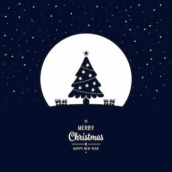 크리스마스 트리 겨울 밤 인사말 텍스트 큰 달 프리미엄 벡터