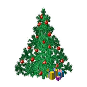 ボールとギフトのクリスマスツリー