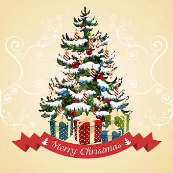 ボール、キャンディー、ギフト、キャンドルのクリスマスツリー。クリスマスカードイラスト。