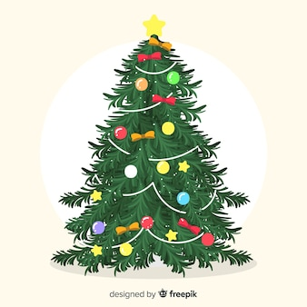 Christmas tree with bows background