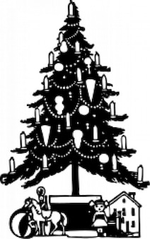 Christmas tree with candles and toy at bottom