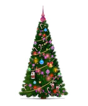 별, 선물 및 공, 메리 크리스마스와 새 해의 만화 장식으로 크리스마스 트리. 겨울 휴가 조명, 크리스마스 벨 및 빨간 리본, 양초 및 사탕이있는 녹색 전나무 또는 소나무