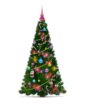 Christmas tree with cartoon decorations of stars, gifts and balls, merry xmas and new year. green fir or pine tree with winter holiday lights, christmas bell and red ribbon, candles and candies
