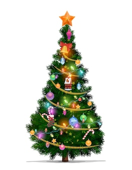 Christmas tree with cartoon xmas star, balls and new year gifts. christmas fir or pine tree, decorated with xmas ornaments, glowing lights, canes and stocking, bell, ribbon and serpentine