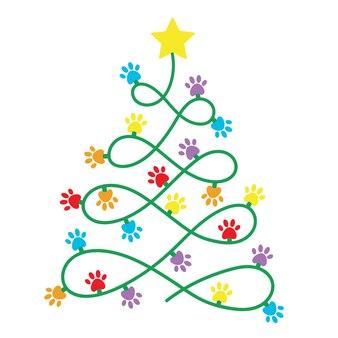 Новогодняя елка с гирляндами merry christmas paws print dog love dogs