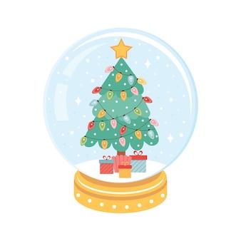 クリスマススノーボールの中にカラフルな花輪が付いたクリスマスツリー。