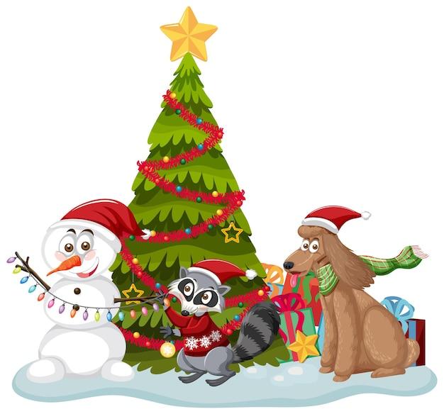 白い背景の上のかわいい動物とクリスマスツリー