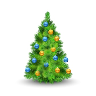 Christmas tree with decoration balls isolated on white background vector illustration