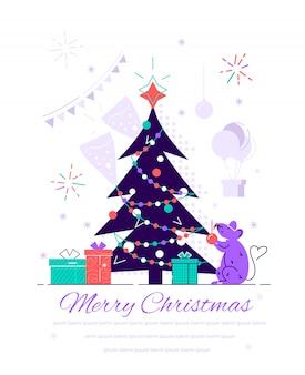 装飾とギフトボックスのクリスマスツリー。休日の背景。メリークリスマス、そしてハッピーニューイヤー。 webページ、カード、ポスター、ソーシャルメディアのフラットスタイルのモダンなデザインのイラスト。