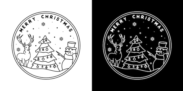 Christmas tree with deer and snowman monoline badge design