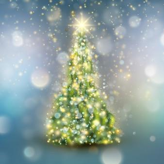 Рождественская елка с расфокусированным светом. а также включает в себя