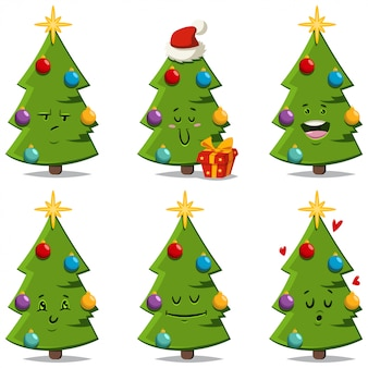 Christmas tree with different face expressions and emotions. vector cartoon funny and cute decorated holiday spruce character isolated