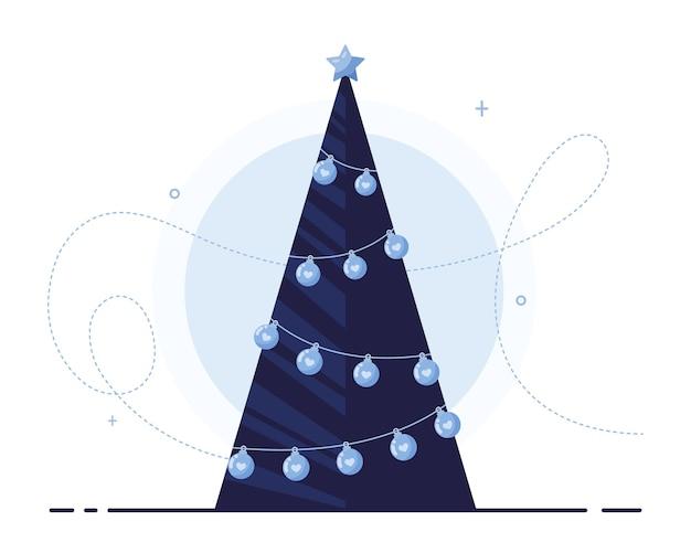 白い背景の上のバナーまたはポストカードとしてクリスマス、新年、クリスマスのための花輪と星とクリスマスツリー。青い