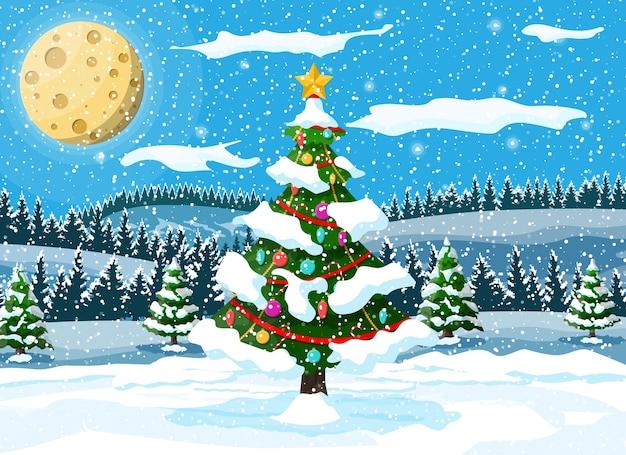 Рождественская елка с гирляндами и шарами иллюстрации