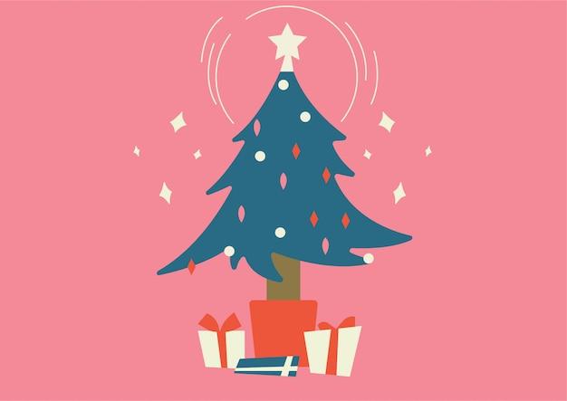Рождественская елка с подарочной коробкой внизу