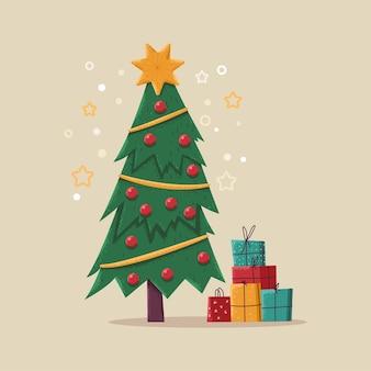 선물 상자 벡터 만화 일러스트 배경에 고립 된 크리스마스 트리.