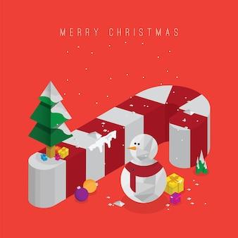 선물 상자와 장식이 있는 크리스마스 트리 3d 사탕 지팡이와 눈사람 벡터 아이소메트릭