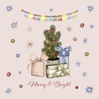 Рождественская елка с подарочными коробками и гирляндой