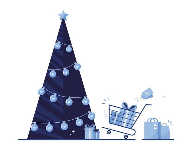 白い背景の上の前夜の休日、クリスマスと新年のギフトボックス、バッグ、ショッピングカートのクリスマスツリー。青い