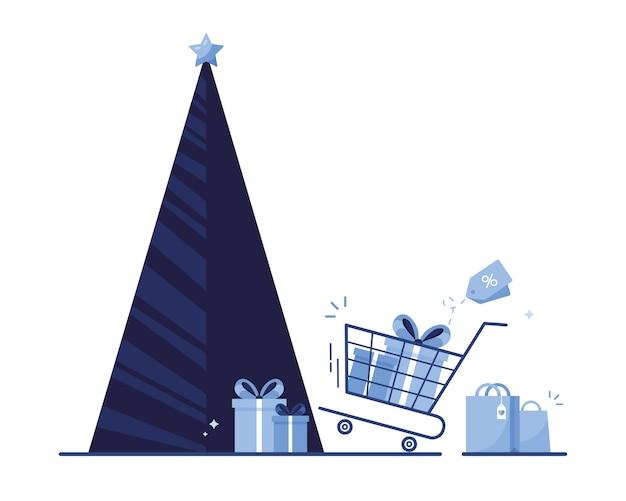 Рождественская елка с подарочными коробками, пакетами и тележкой для покупок на канун праздников