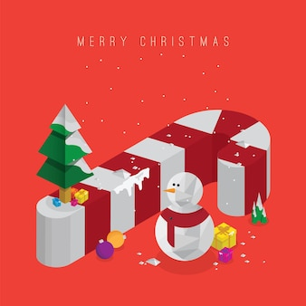 Christmas tree with gift boxes and decorations 3d candy cane and snowman vector isometric