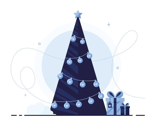 クリスマスイラストのギフトボックスとクリスマスツリー