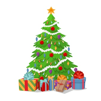 Christmas tree with gift boxes. vector  cartoon illustration.