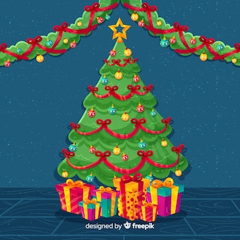 Christmas tree with gifts background