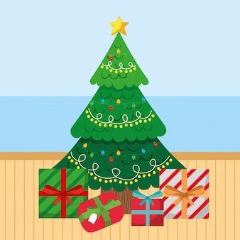 Christmas tree with gifts cartoon