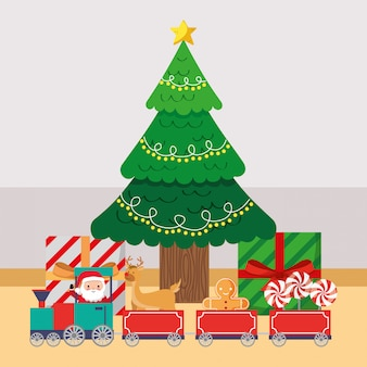 Christmas tree with gifts cartoon