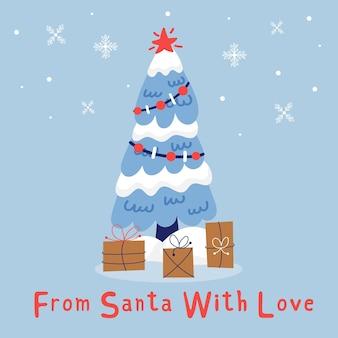 선물이 있는 크리스마스 트리. 크리스마스 휴일 귀여운 요소입니다. 산타클로스의 선물. 새해 인사말 카드