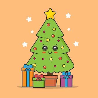 오렌지에 고립 된 선물 크리스마스 트리