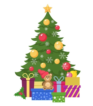 白い背景で隔離の贈り物とクリスマスツリー。